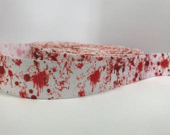 "1"" Blood The Walking Dead Zombie Grosgrain Ribbon Halloween"