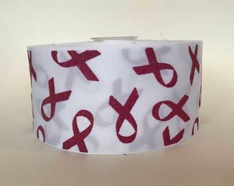 """3"""" Breast Cancer Awarness Grosgrain Ribbon Glitter"""