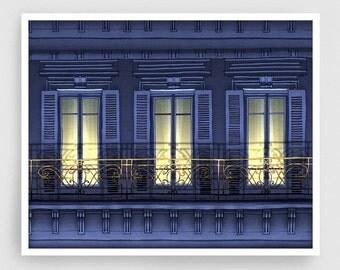 Paris illustration - Paris balcony (night version, landscape) - Art Illustration Print art print Home decor Architectural drawing Facade