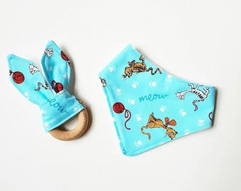 Dr Seuss inspired Pets Dogs Cats blue yellow green red bandana baby bibs teethers