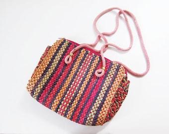 Pink Woven Bag /  Woven Straw Purse / Summer Purse / Colorful Woven Straw Purse / Bohemian Bag / Boho Purse