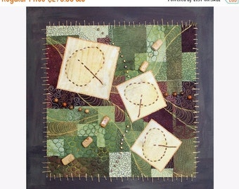 Close out Sale Art Quilt Mounted on Painted Canvas Quilted Wall Hanging Mixed Media