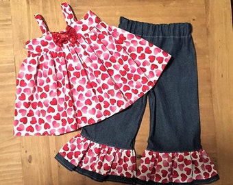 Valentine Outfit Ruffle Pants Size 2T Ready To Ship!  Swing Top Ruffle Pants