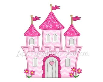Princess Castle Applique Machine Embroidery Design pink girl palace INSTANT DOWNLOAD