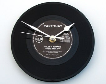 "TAKE THAT, Vinyl record CLOCK "" Could It Be Magic "", recycled 7"" single, retro 1980s, Fun Gift, for girlfriend, boyfriend, anniversary gag"