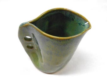 Pottery Altered Pitcher Ceramic Creamer Pottery Syrup Pitcher Pottery Gravy Boat Wheel Thrown Altered Pitcher Small in Green Blue