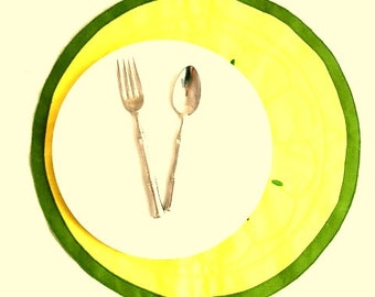 Vintage 80s LEMON LIME Round Placemats / Yellow & Green Dinner Mats