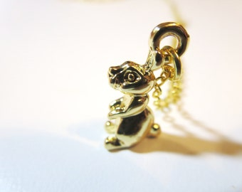 Brown  Bunny Necklace - black  Rabbit Charm -sterling bunny -gold brabbit with  Free  gift