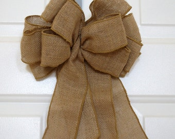 Burlap Bow Rustic Wedding, Burlap Bow, Country Chic Wedding, Burlap Bow for wreaths
