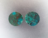 "Malachite Chrysocolla 7/8"", 22mm  Gemstone Ear Plugs One Pair"