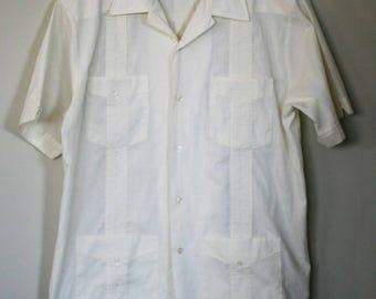 vintage guayabera men's shirt size medium