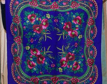 SALE Russian Shawl. Ukrainian Scarf chale russe. BLUE scarf. Traditional Floral ornaments. Ukrainian holiday platok hustka foulard russe