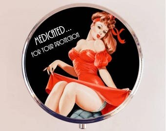 Medicated for Your Protection Pill Box Case Pillbox Holder Trinket Stash Box Pin Up Retro Funny Humor Pinup Pulp