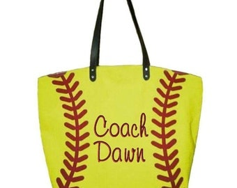 Monogrammed Baseball/Softball/Volleyball/Soccer ball/Basketball/Football tote/coach's wife gift/coaches gift/personalized sport tote/