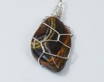 Tiger's Eye Stone Pendant, Wire Wrapped in Sterling Silver, High Polish Gemstone,