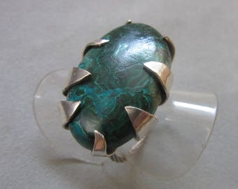 Large Silver Malachite Ring - Size 6 1/2