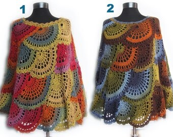 Crochet poncho, Multicolor Capelet, Boho Poncho Cape Cowl,Women Poncho,boho poncho,handmade Poncho,crochet accessories,lace poncho capalet