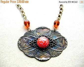 Statement Necklace - Boho Necklace - Brass Necklace - Antiqued Necklace - Handmade Necklace - Gift Idea