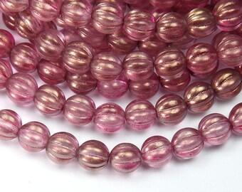 Rose Pink Halo Czech Glass Beads, 8mm Melon - 25 pcs - e29259-08