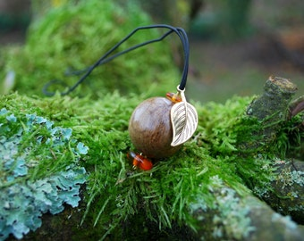 Minimalist Choker Oak Wood Unisex Ball Apple Pendant, Nature Eco Friendly Boho Hippie Amulet, Wood Rustic Pendant, Unisex Wood Apple Pendant