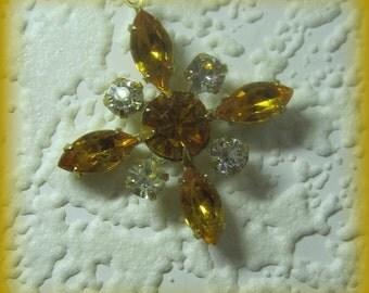 Topaz Crystal 35MM Multi Stone Rhinestone Navette Chaton Brass Starburst Pendant