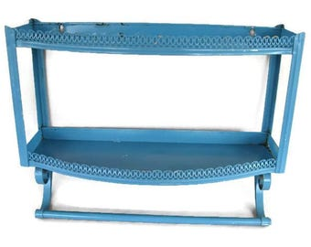 vintage turquoise metal kitchen shelf and towel rack, 1950's