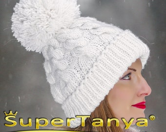SUPERTANYA hand knitted soft wool hat with giant pom pom in white by SuperTanya