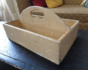 Primitive Wooden Caddy, Painted Knife Box