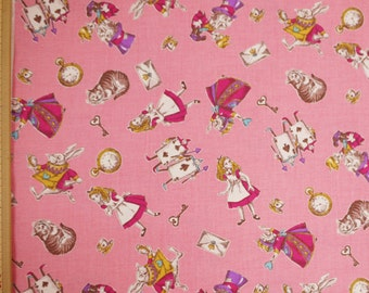Lecien Japanese Fabric / Alice in Wonderland Fabric Pink - 110cm x 50cm