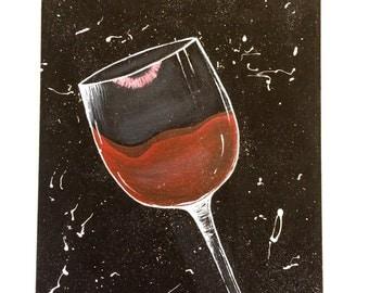 Lipstick Kiss Wine Glass 8x10 on Canvas