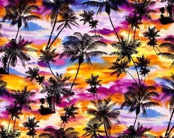 Fat Quarter Ocean Avenue Tropical Sunset 100% Cotton Quilting Fabric Benartex