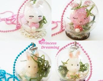 Bunny Snow Globe Necklace