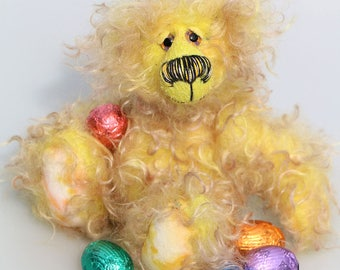 Chicky Loveheart is an adorably fluffy one of a kind artist bear in long, scrumptious hand dyed and hand tipped mohair by Barbara-Ann Bears