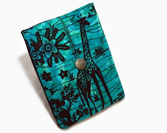 Tablet Case, Giraffe , iPad,  iPad Mini Case, African, Tribal, Nature, Spring, Tablet Sleeve, Cozy, Handmade, FOAM Padding, Nature, Blue