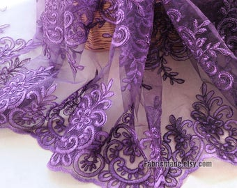 Purple Corded Lace Fabric, Alencon Lace Applique, Heavy Embroidery Violet Lace for Tutu Dress- 1/2 Yard
