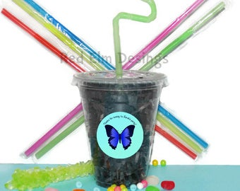 Butterfly Party Cups, Butterfly Cups, Kids Birthday Party Cups, 20 Cups, Butterfly Kids Party Cups, Straws and Lids, 12 Ounce Cups