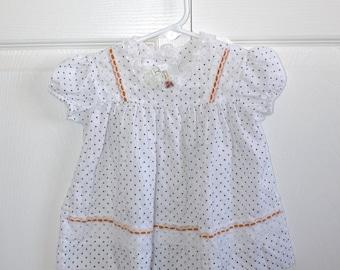 1970s Baby Girl's White & Navy Blue Polka Dot Dress . Vintage 70s JC Penney Toddletime Dress . Gold Ribbon White Lace . 12 Months