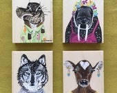 Choose ONE MILLANNIAL art block. Chipmunk. Walrus. Wolf. Cow. Original animal painting.