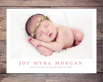 Birth Announcement, New Baby Announcement, Baby Girl Announcement, Baby Boy Announcement, Card, DIY, Printable, Custom