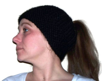 Messy Bun Hat, Ponytail Hat, Knit Hat, Warm Hat, Black