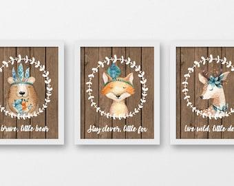 Tribal Animals Art Prints, Deer Tribal Art, Live Wild Little Deer, Be Brave Little Bear, Stay Clever Little Fox, Tribal Nursery Art, A-3094