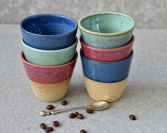 Pottery colorful Espresso cups set, 6 stylish Ceramic Espresso Shot tumblers cups, set of six stoneware cups, gift for him, READY TO SHIP