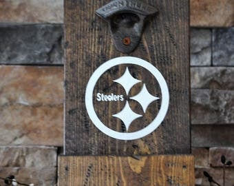 Rustic, Wooden Steelers Beer Bottle Opener