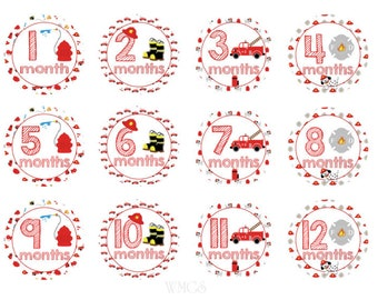 Baby Month Stickers Firemen Monthly Stickers Baby Shower Gift Month Stickers Boys Milestone Stickers Firefighter Stickers