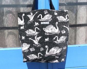 Vintage towelling beach bag -  black swans