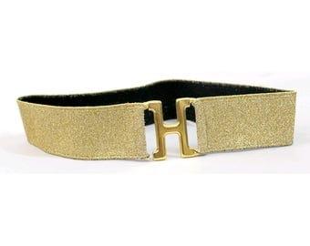 H Gold Belt elastic 1970 / gold H buckle Belt