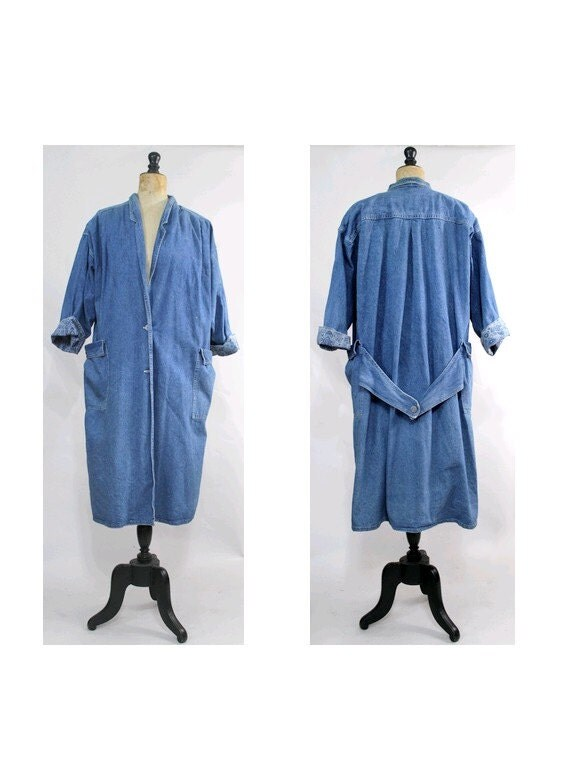 1980 denim oversized Coat /80s denim trench