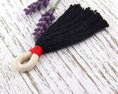 Black, Long Handmade Bohemian Cotton Tassel, 100% Cotton, Tassel Supplies, Wrapped Loop Tassel, 1 piece // TAS-106