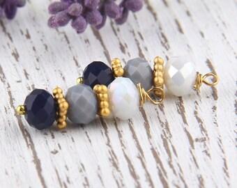Gray, Ombre Bead Dangles, Crystal Bead Dangles, 2 pieces //BD-041