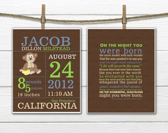 Birth Announcement Set  -  Monkey Nursery - Birth Info Print